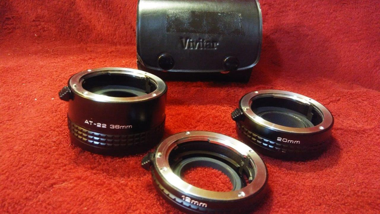 Primary image for Set of Vivitar extension tubes with case, AT-3/AI 36, 20, 12 mm
