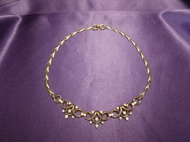 1950s 1940s Crown Trifari Gold Tone Crystal Necklace Mid Century Designer Signed - $57.92