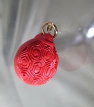 Carved Cinnabar Bracelet Charm  SCARAB BEETLE  Vintage Solid Volcanic Mineral 3D - $64.35