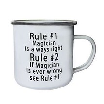 Rule 1 Magician is Always Right Rule 2 Funny No Retro,Tin, Enamel 10oz M... - $13.13
