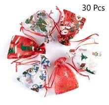 Christmas Organza Bags Santa Drawstring Jewelry Favor Bags Glitter Gift ... - $25.15