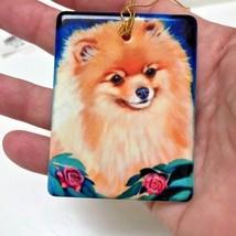 Pomeranian Ornament Ceramic Dog Christmas Valentine Birthday New Gift Roses - $24.24