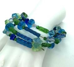 Vintage Blue Green Glass Bead Wire Wrap Bracelet Leaf Flowers 90s - $12.86