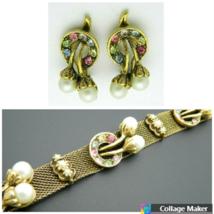 Judy Lee ANGEL Pastel Rhinestone Faux Pearl Mesh Gold Tone Bracelet Earr... - $89.09