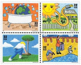 1995 Kids Care About the Environment Block of 4 US Stamps Catalog 2951-54 MNH