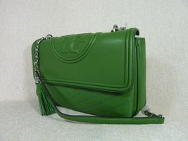 NWT Tory Burch Watercress Green Leather Fleming Convertible Shoulder Bag image 2