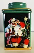 Coca Cola Santa with Coke Green Stoneware Canister Sakura 2002 Holiday P... - $14.50