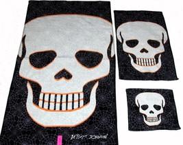 3 Betsey Johnson Large Twilight Skulls Spider Webs Bath Hand Towel Washcloth New - $39.99