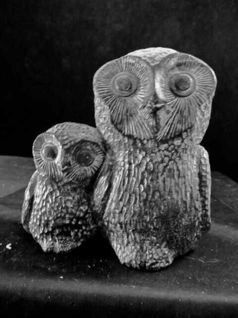 Owls - Mother Owl And Baby Owlet Carved From Soapstone Nuvuk Canada