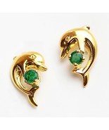 14k gold dolphin emeral earring #b1 - $78.21