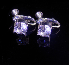 Vintage Givenchy earrings - crystal 2ct size - Designer earrings - hinge... - $45.00