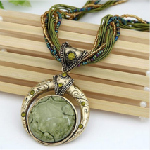 Retro Bohemia Style Multilayer Beads Chain Crystal Grain Pendant Necklace - $2.10