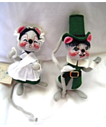 """Annalee 6"""" Pilgrim Thanksgiving Mice Boy and Girl in Green - $19.99"""