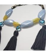 Handcrafted tassel blue beaded necklace set - $40.00