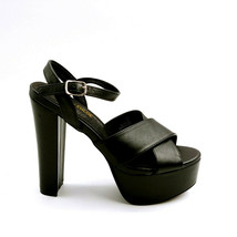 Chase & Chloe Womans Ford High Heel Platform Ankle Strap Sandal Black Sz 7 M  - $34.64