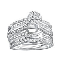 0.90 Ct Round & Baguette Cut Sterling Silver Real Diamond Engagement Bridal Set - $422.99