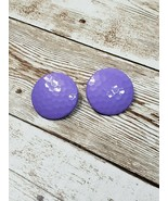 Vintage Clip On Earrings Purple Hammered Circle - $9.99