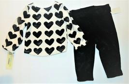 Genuine Kids From OshKosh Infant Girls 2pc Ebony Hearts Outfit Size 12M NWT - $20.36