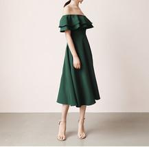 Women Off Shoulder Chiffon Midi Cocktail Dress, Burgundy Dark Green Blush White image 3