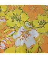 Vintage Cannon Royal Muslin Flat Sheet Yellow And Orange Floral Pattern ... - $18.69