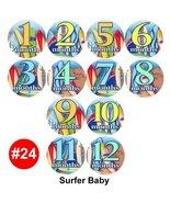 SURFER SPORT SURFING BEACH Baby Month Onesie Stickers stickers, Baby Sho... - $12.59