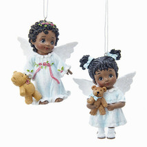 KURT ADLER SET OF 2 AFRICAN AMERICAN LITTLE ANGELS w/TEDDY BEAR XMAS ORN... - $19.88