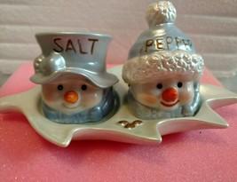"""Snowman in blue Salt n Pepper Shakers -Measures 7 1/2"""" x 4"""" x 3 3/4"""" - $5.36"""