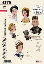 Simplicity Misses' Authentic 1960s Hats, Scarves, Bag & Rose-ONE SIZE - $18.20