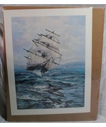 """VIOLET PARKHURST Tall Ship w/Dolphins Signed Numbered Litho 24 1/2"""" x 19"""" - $425.00"""