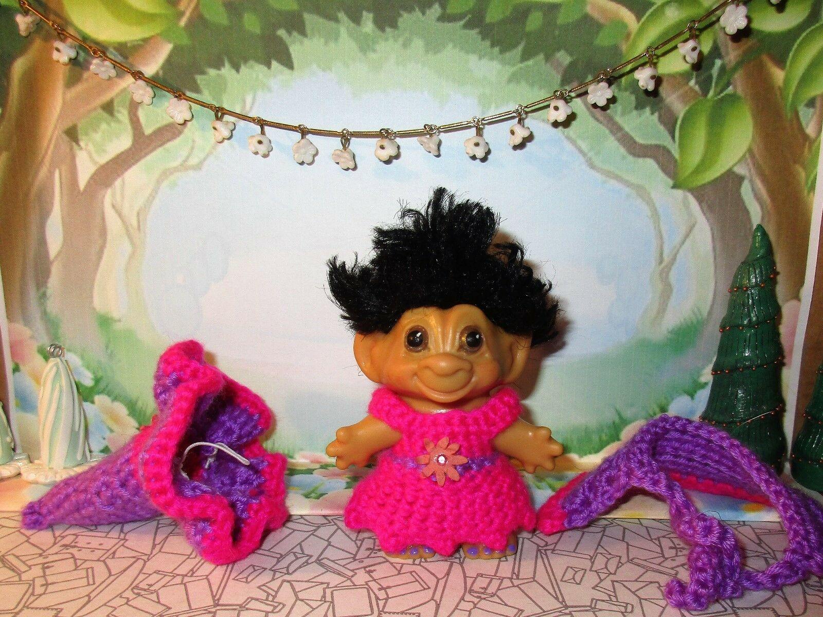 SPRING WITCH TROLL 3 inch crochet dress hat cape panties tab dam doll pink 60's image 2