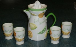NAPCOWARE JUICE PITCHER WITH REAMER LID AND 4 JUICE CUPS C-5352 - VINTAG... - $29.09