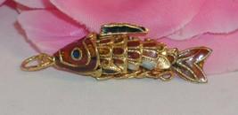 Vintage Cloisonne Enamel Articulated Fish Pendant Copper & Gold Tone Koi... - $24.99