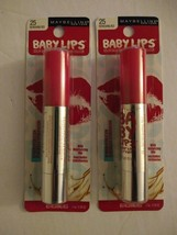 2 New Maybelline Baby Lips Crayon - Refreshing Red #25 - Color Lip Balm - $14.99