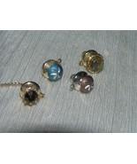 Vintage Lot of 4 Etched Brown & Blue Domes Bronze Rhinestone & Variegate... - $9.49