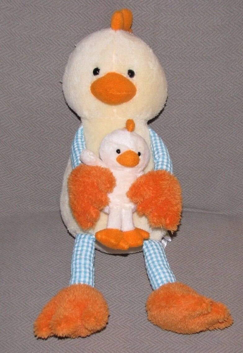Primary image for ANIMAL ADVENTURE STUFFED PLUSH DUCK CHICK CHICKEN YELLOW BLUE WHITE GINGHAM 2012