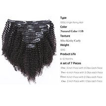 Anrosa Afro Kinky Clip ins Human Hair 1B Natural Black Afro Kinkys Curly Clip in image 2