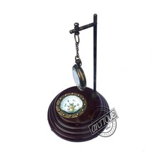 Corporate/Living Rooms Shelf Clock Brass Compass Authentic Marine Gift - $39.27