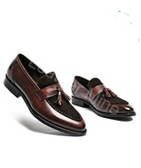 New Men's Handmade Brown Leather Patina Tassel Loafers Dress Shoes For Men - $159.99+