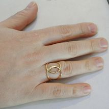 SOLID 18K YELLOW GOLD BAND DOUBLE HUG WIRES RING LUMINOUS SMOOTH, MADE IN ITALY image 4