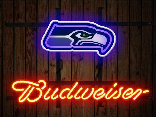 "Budweiser Seattle Seahawks Bud Neon Sign 14""x10"" Beer Bar Light Artwork Decor"
