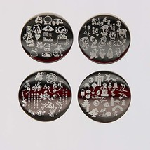 4Pcs Nail Art Stamping Plate Chinese Style Round Steel Plates Manicure Decoratio