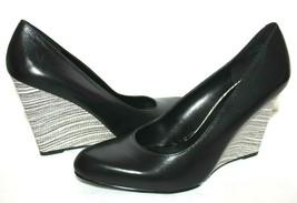 ❤️NINE WEST Rareity Black Leather Brushed-Snake Wedge Pump 10 M EXCELLEN... - $27.54