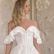 Sweetheart A Line Applique Off The Shoulder Lace Up Sweep Train Bridal Gown image 3