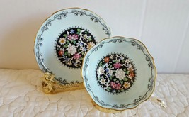 Paragon China Tea Cup & Saucer By Appointment Black w Flowers & Mint Green - $84.99