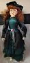 "Vintage 30"" Doll Red Hair Green Eyes Green & Black Dress Porcelain Face ... - $48.37"