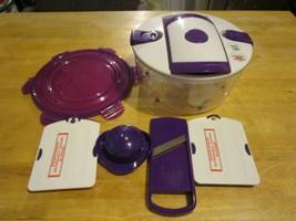 Genius Salad Chef Chopper Food Prep System 7 Piece Set Purple~EUC - $19.79
