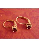 Vintage Garnet earrings - gold over sterling - hinged wire pierced earrings - 15 - $65.00