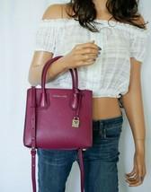Nwt Michael Kors Mercer Acrdion Small Satchel Messenger Leather Bag Garnet Color - $108.89