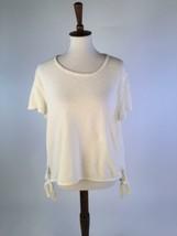 Madewell Womens Blouse Top XXL Cream Modern Side Tie Cotton Short Sleeve... - $24.13