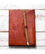 Letter V Alphabet Handmade Leather Journal - $28.00